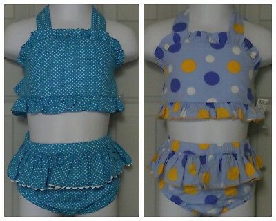 BOUTIQUE CLEARANCE RESALE LOT of 12 BABY GIRL 2 PIECE SWIM SUITS RUFFLED NEW