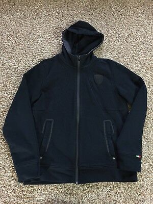 MENS PUMA FERRARI RACING hoodie BLACK FULL ZIP SWEATER JACKET size SMALL racing