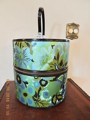 """MINT Vintage 60s Wig Hat Box Case Traveling 13 1/2"""" tall Blue Green"""