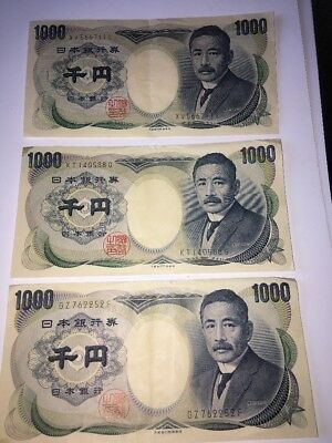 Japanese 1000 X 3 Yen Nippon Ginko Banknote Circulated  - Lot of 3 - Crisp Notes