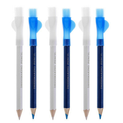6Pcs Tailor Chalk Pencils with Brush For Dressmakers Sewing Fabric Craft Pen