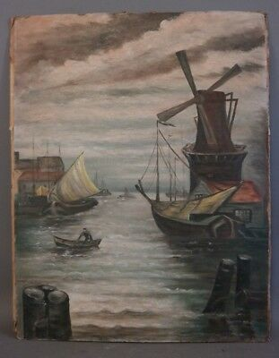 1955 Vintage HARBOR TOWN Old SAILBOAT DOCK & WINDMILL Old SEASCAPE Oil PAINTING