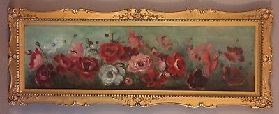 LG 19thC Antique VICTORIAN YARD LONG Flowers STILL LIFE of ROSES Oil PAINTING