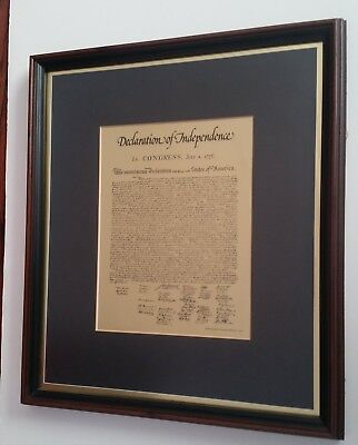 LARGE DECLARATION OF Independence Printed Parchment Paper Framed 30 ...