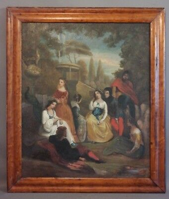 LG 19thC Antique VICTORIAN Era GARDEN PARTY Old OUTDOOR Lady & Gent OIL PAINTING