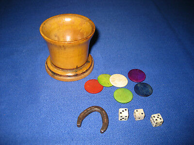 Antique Late Victorian Treen Turned Boxwood Dice Shaker With A Lucky Horse Shoe