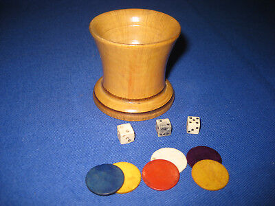 Antique Late Victorian Treen Turned Boxwood Dice Shaker, Dices And Counters