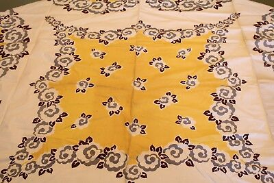VINTAGE Kitchen TABLECLOTH 1940'S 50 x 50 DeadStock Brown Gold Gray Floral
