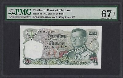Thailand ND (1981) P-88 PMG Superb Gem UNC 67 EPQ 20 Baht