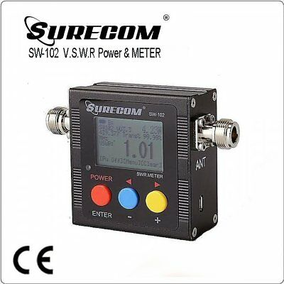 SURECOM SW102-N SW-102 VU V.S.W.R. POWER METER with Build in frequency counter