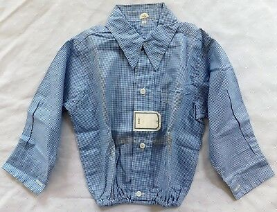 Vintage baby shirt 1930s 1940s Shop soiled Blue check blouse top UNUSED size 0