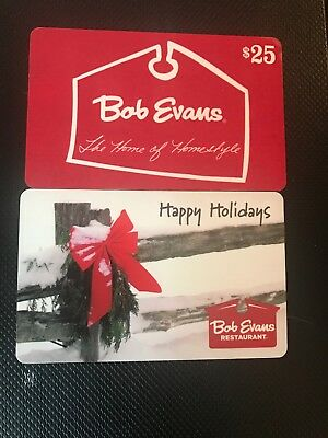 2 25 Gift Cards 50 Total Bob Evans Restaurant Unused Free Shipping