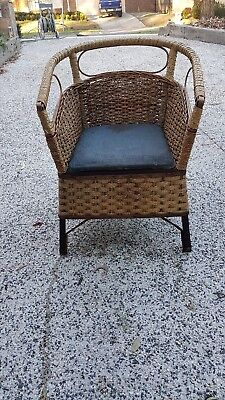 Vintage or antique wicker commode chair