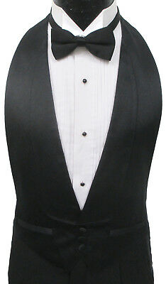 Black Satin Open Back Tuxedo Vest & Bow Tie Wedding Prom Formal Mason Costume