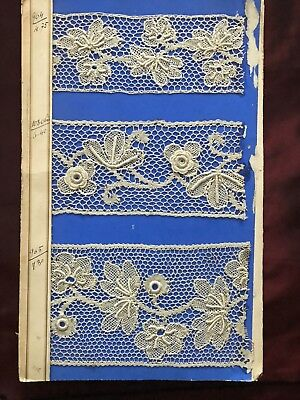 From an antique LACEMAKER ALBUM -Several LE PUY LACE SAMPLES-HANDMADE guaranteed