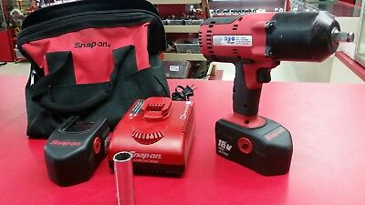 "Snap On CT6818 1/2"" 18 Volt Cordless Impact w/ 2 Batteries & Charger"