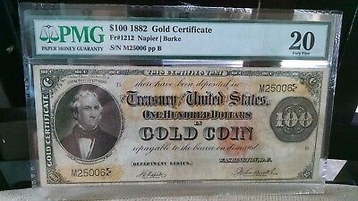 Very Scarce Fr#1212 1882 $100 Gold Certificate - Pmg Vf20, 47 Known