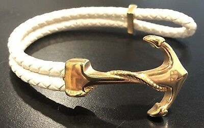 Stainless Steel Gold Leather Anchor Bracelets (White/Black/Grey/Red/Maroon)
