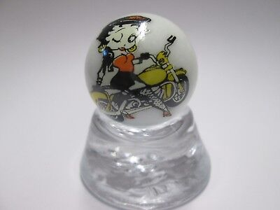 NICE BETTY BOOP ON MOTORCYCLE  COLLECTORS MARBLE