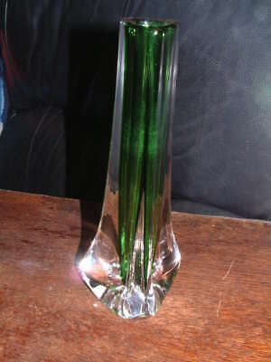 Collectable Whitefriars Meadow Green Tri Corn Vase  # 9750