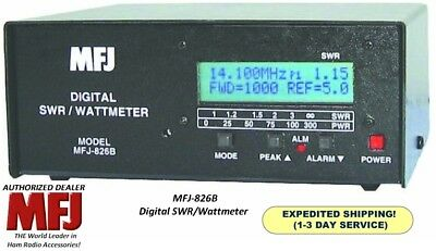 MFJ 826B  Digital SWR/Wattmeter, 1500 Watts, 1.8-54 MHZ. With Frequency Counter