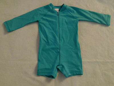 NWT Hanna Andersson Turquoise Blue Swimmy Rash Guard 1PC Swimsuit Baby Toddler