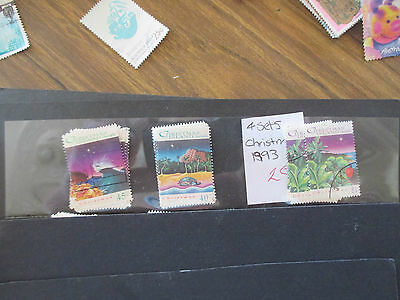 No 8--1993  CHRISTMAS  ISLAND  ISSUES  3 STAMPS   USED LIGHTLY  STAMPED