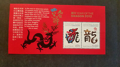 No--2------2012  CHRISTMAS ISLAND  YEAR  OF  DRAGON  --MINI  SHEET  --MINT