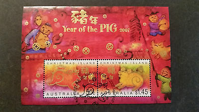 N0-2--2007    Christmas   Island -Year Of Pig   Issue   Mini  Sheet--Used--A1