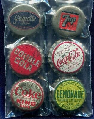 6 Older Cork Bk Soda Bottle Caps- Grapette Coca Cola Double Cola Lemonade  7up