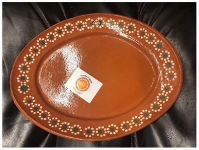 Made in Mexico 11x8 Mexican Grande Dinner or Salad Clay Oval Plates Set Of 4
