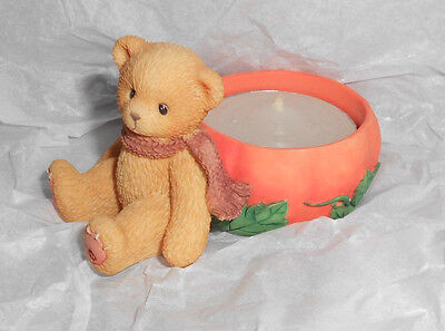 Enesco CHERISHED TEDDIES Bear 470333 AUTUMN PUMPKIN TEALIGHT CANDLE Holder