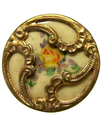 Antique Floral Sheet Celluloid Button Encased In Metal J67