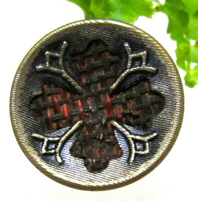 Wonderful Victorian Perfume Button With Fabric Cross J81