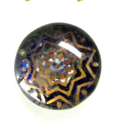 Lovely Antique Glass Kaleidoscope Button Cobalt Blue With Gold Stars J105