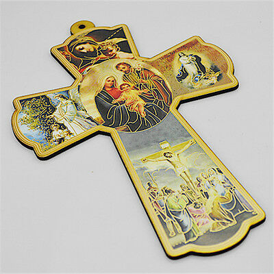 Wooden Religious Saint Crucifixes With Praying Holy Family Picture