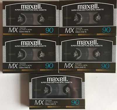 Maxell MX-S 90 Audio Tape, 5 New Made in Japan 1986  Generation 3A