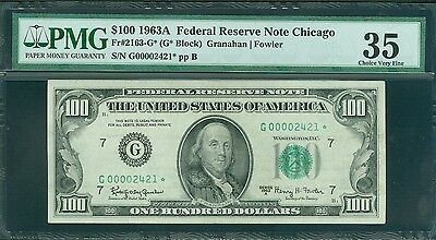 Fr#2163-G* 1963-A $100 Scarce 4 Digit Serial Chicago Star Pmg Choice Vf 35 Nice!