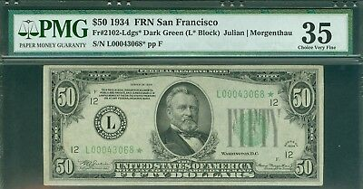 Fr#2102-L* 1934 $50 Scarce San Francisco Star Pmg Choice Very Fine 35 Rarity!!!