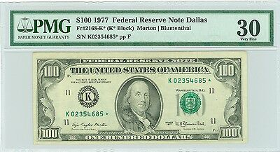 Fr#2168-K* 1977 $100 Rare Dallas Star Note Pmg Vf 30 Great Star Note
