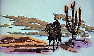 Original Old West Cowboy Riding Horse Iron On Transfer