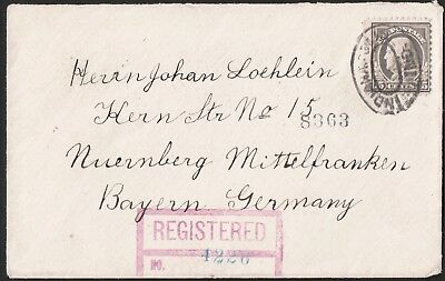 USA 1920 Indianapolis To Nürnberg Germany Postal History Registered Cover VF