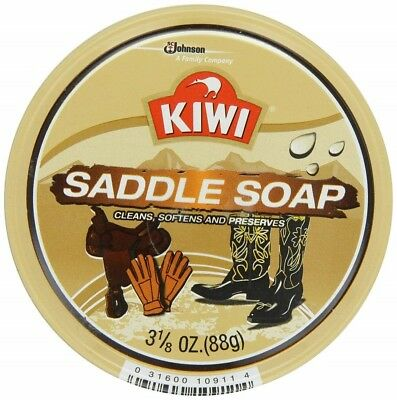 Kiwi Saddle Soap 3 1/8oz 88gr Paste Cleans Softens Preserves Conditions Leather