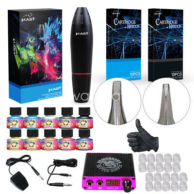 TOP Tattoo Kit Motor Pen Machine Gun Color Inks Power Supply Needles D3029