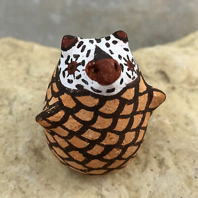 Zuni Pueblo Pottery - Red Clay Miniature WHITE FACE OWL -Erma Kalestewa Homer