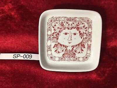 Bjorn Wiinblad Small Plate Nymolle Denmark Red Ink Woman With Flowers in Hair