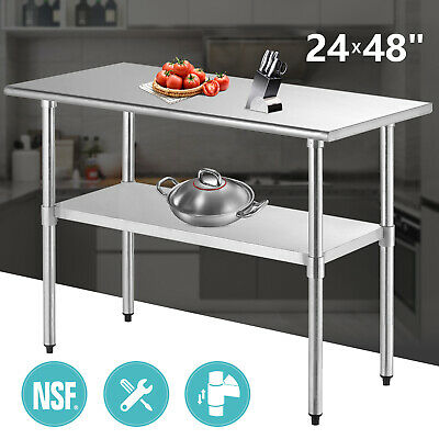 "Commercial 24"" x 48"" Prep Table Stainless Steel Work Food Kitchen"