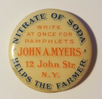 Old Celluloid Advertising Pocket Mirror John A. Myers New York Nitrate Of Soda