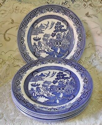 6 CHURCHILL BLUE WILLOW 26.5cm DINNER PLATES MADE IN ENGLAND