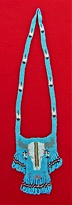 Beautiful Seed Beaded Native American Necklace Bag ~ Sioux Made ~ 1998